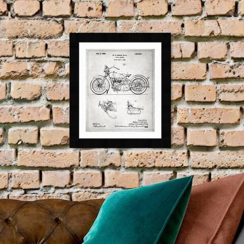 Oliver Gal 'Harley, 1928 - Gray' Transportation Framed Blueprint Wall Art - Black, Gray