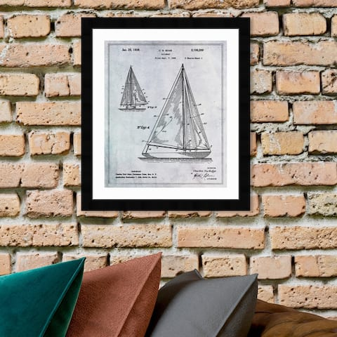 Oliver Gal 'Sailboat 1938' Nautical and Coastal Framed Blueprint Wall Art - Black, Gray