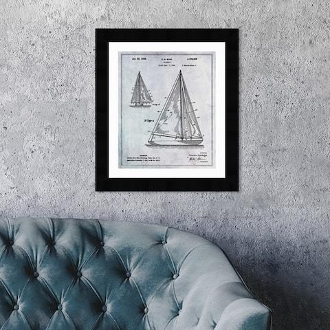 Oliver Gal 'Sailboat 1938' Nautical and Coastal Framed Blueprint Wall Art - Black, Gray