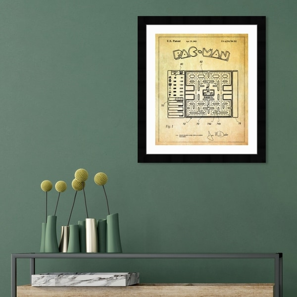 Oliver Gal 'Maze Based Game Screen 2003' Entertainment and Hobbies Framed Blueprint Wall Art - Yellow, Black