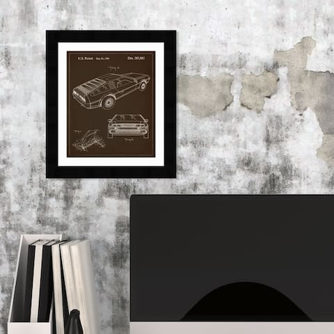 Oliver Gal 'Delorean, 1986' Movies and TV Framed Blueprint Wall Art - Black, White