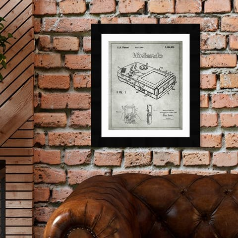 Oliver Gal 'Gameboy, 1993 - Gray' Entertainment and Hobbies Framed Blueprint Wall Art - Black, Gray