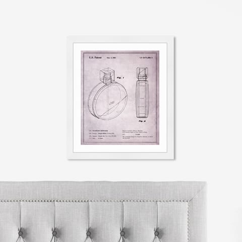 Oliver Gal 'Chance Fragrance Dispenser 2002' Fashion and Glam Framed Blueprint Wall Art - Pink, Black
