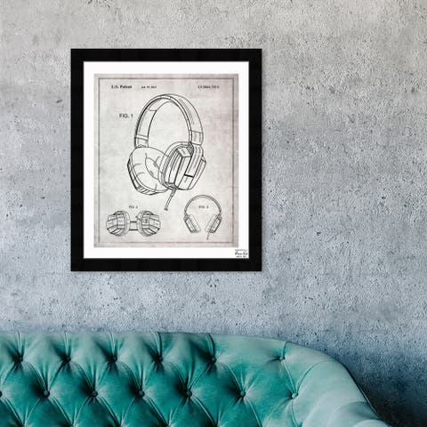 Oliver Gal 'Headphones Gray 2010' Music and Dance Framed Blueprint Wall Art - Black, White