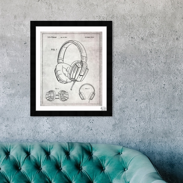 Oliver Gal 'Headphones Gray 2010' Music and Dance Framed Blueprint Wall Art - Black, White. Opens flyout.