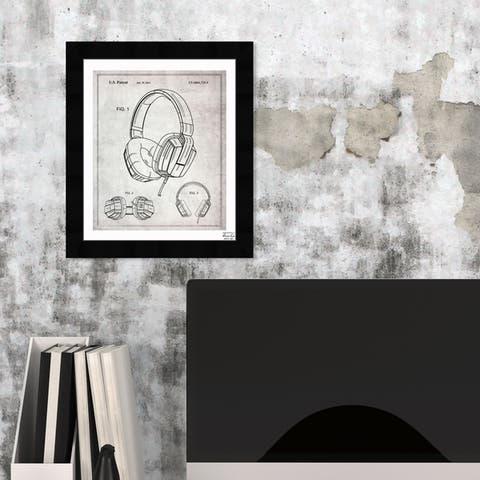 Oliver Gal 'Headphones Gray 2010' Framed Blueprint Wall Art