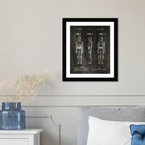 Oliver Gal 'Robot, 1979' Fantasy and Sci-Fi Framed Blueprint Wall Art - Black, White
