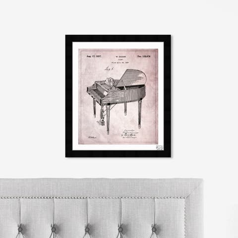 Oliver Gal 'Piano 1937' Music and Dance Framed Blueprint Wall Art - Pink, Black