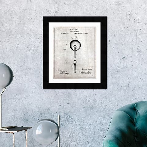 Oliver Gal 'Edison Electric Lamp 1880' Education and Office Framed Blueprint Wall Art - Black, White