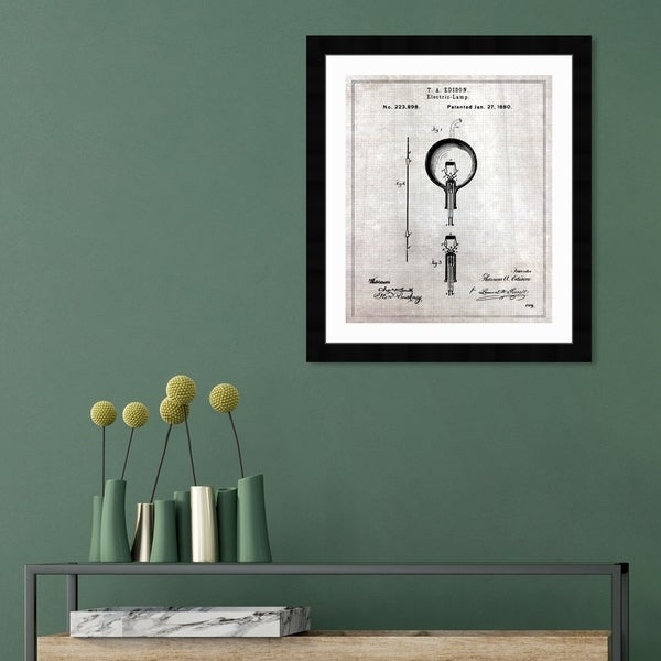 Oliver Gal 'Edison Electric Lamp 1880' Education and Office Framed Blueprint Wall Art - Black, White. Opens flyout.