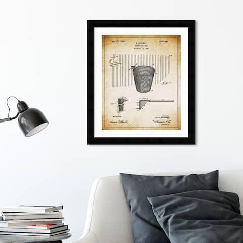 Oliver Gal 'Basketball Hoop 1925' Sports and Teams Framed Blueprint Wall Art - Brown, Black