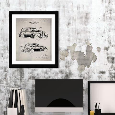Oliver Gal '1B00208 Automobile' Transportation Framed Blueprint Wall Art - Black, Brown