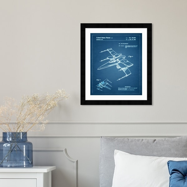 Oliver Gal 'Spacecraft 1980' Astronomy and Space Framed Blueprint Wall Art - Blue, White