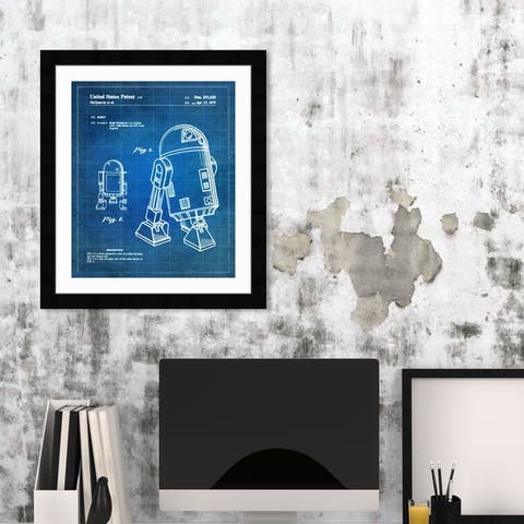 Oliver Gal 'Robot II, 1979' Movies and TV Framed Blueprint Wall Art - Blue, White