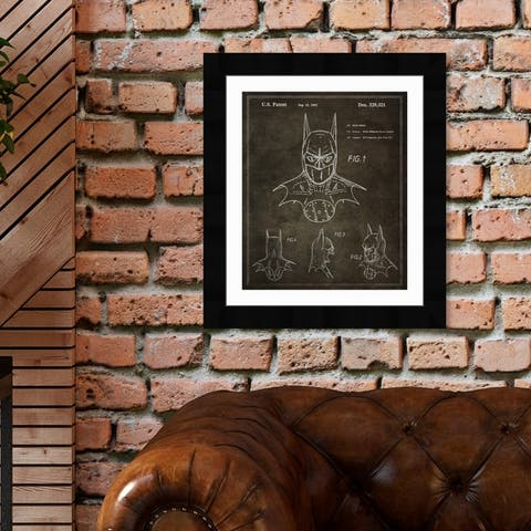 Oliver Gal 'Batman, 1992' Movies and TV Framed Blueprint Wall Art - Black, White
