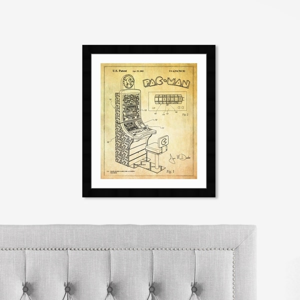Oliver Gal 'Maze Based Game 2003' Entertainment and Hobbies Framed Blueprint Wall Art - Yellow, Black