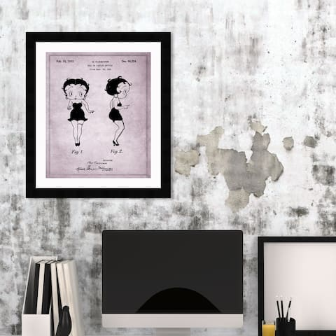 Oliver Gal 'Betty Boop 1932' Movies and TV Framed Blueprint Wall Art - Black, Gray