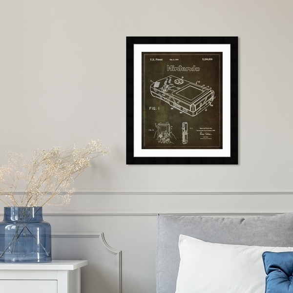 Oliver Gal 'Gameboy 1993' Entertainment and Hobbies Framed Blueprint Wall Art - Brown, White