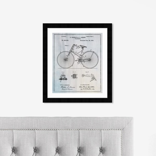 Oliver Gal 'Bicycle 1890' Transportation Framed Blueprint Wall Art - Blue, Black