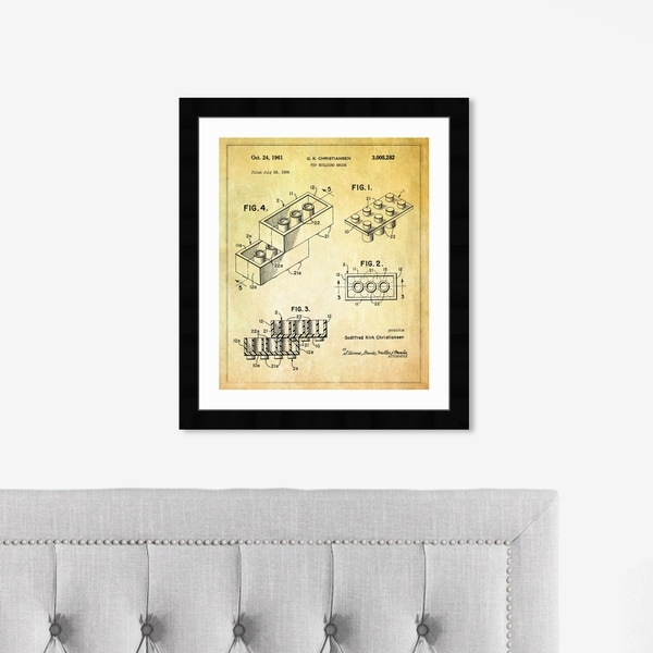 Oliver Gal 'Lego toy building brick, 1961' Entertainment and Hobbies Framed Blueprint Wall Art - Yellow, Black
