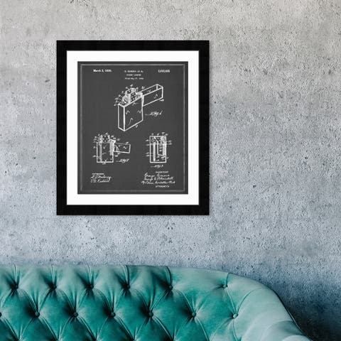 Oliver Gal 'ZIPPO POCKET LIGHTER 1936' Entertainment and Hobbies Framed Blueprint Wall Art - Gray, White