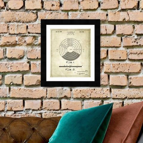 Oliver Gal 'Vinyl Record 1948' Music and Dance Framed Blueprint Wall Art - Brown, Black