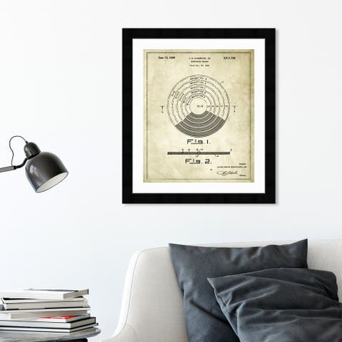 Oliver Gal 'Vinyl Record 1948' Music and Dance Framed Blueprint Wall Art - Brown, Black
