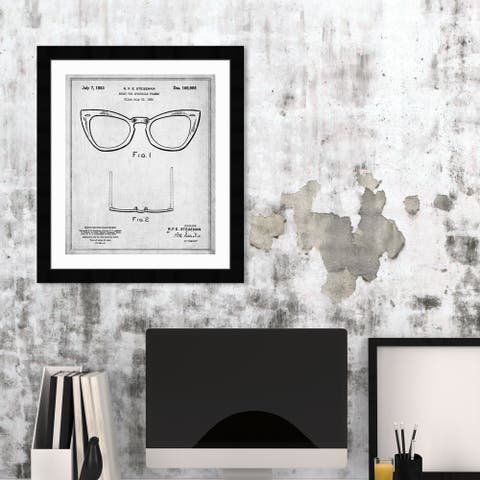 Oliver Gal 'Ray-Ban Wayfarer SPECTACLE FRAMES 1953' Fashion and Glam Framed Blueprint Wall Art - Black, White