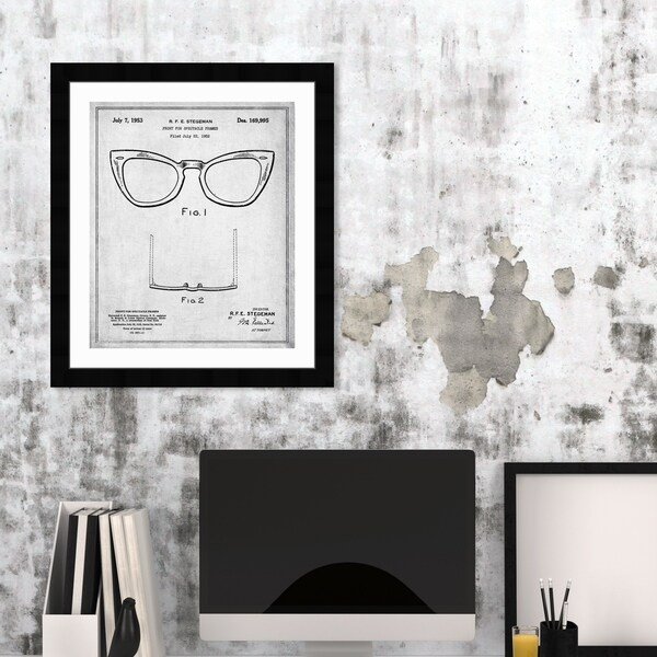 Oliver Gal 'Ray-Ban Wayfarer SPECTACLE FRAMES 1953' Fashion and Glam Framed Blueprint Wall Art - Black, White