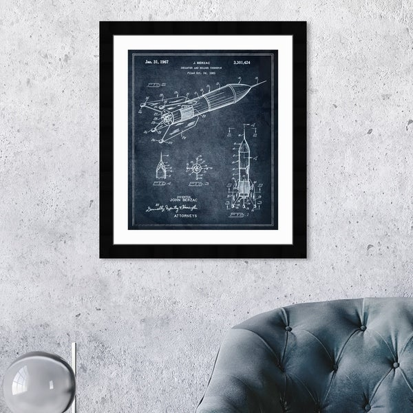 Oliver Gal 'DECANTER AND HOLDER 1967' Drinks and Spirits Framed Blueprint Wall Art - Blue, White