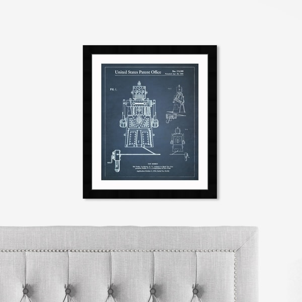 Oliver Gal 'Toy Robot Ideal Robert 1955' Entertainment and Hobbies Framed Blueprint Wall Art - Blue, White