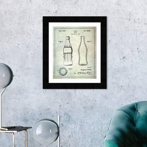 Oliver Gal 'Coca Cola Bottle 1937' Drinks and Spirits Framed Blueprint Wall Art - Brown, Black