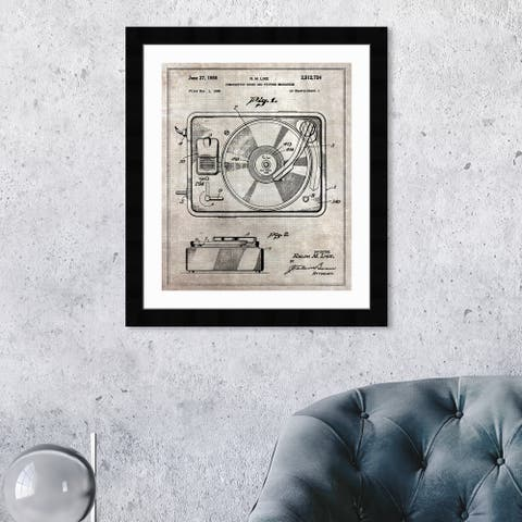 Oliver Gal 'Combination Sound and Picture 1950' Music and Dance Framed Blueprint Wall Art - Brown, Black