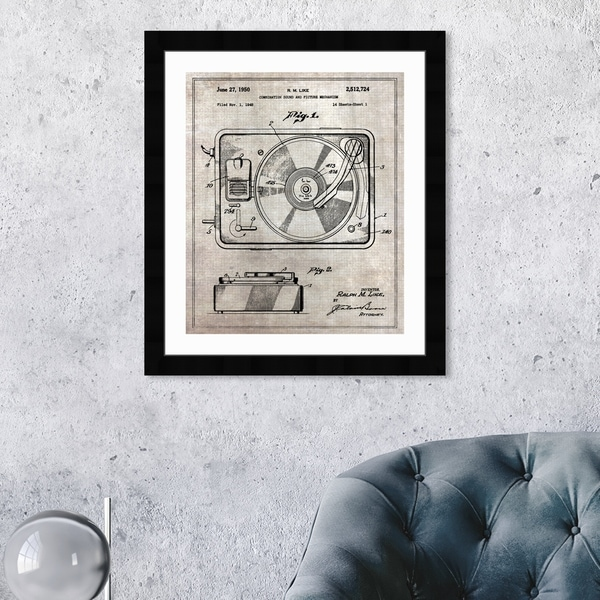 Oliver Gal 'Combination Sound and Picture 1950' Music and Dance Framed Blueprint Wall Art - Brown, Black. Opens flyout.