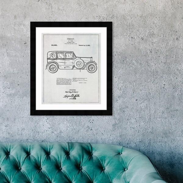 Oliver Gal 'Harley Automobile Body 1921' Transportation Framed Blueprint Wall Art - Black, White