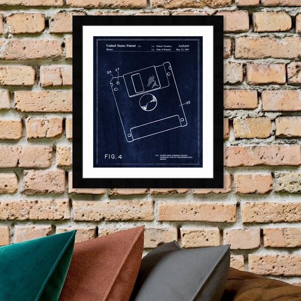 Oliver Gal '1B00137 Floppy' Entertainment and Hobbies Framed Blueprint Wall Art - Blue, White
