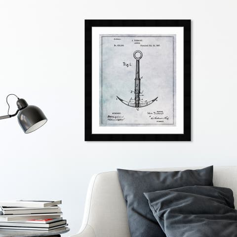 Oliver Gal 'Anchor 1887' Nautical and Coastal Framed Blueprint Wall Art - Black, Gray