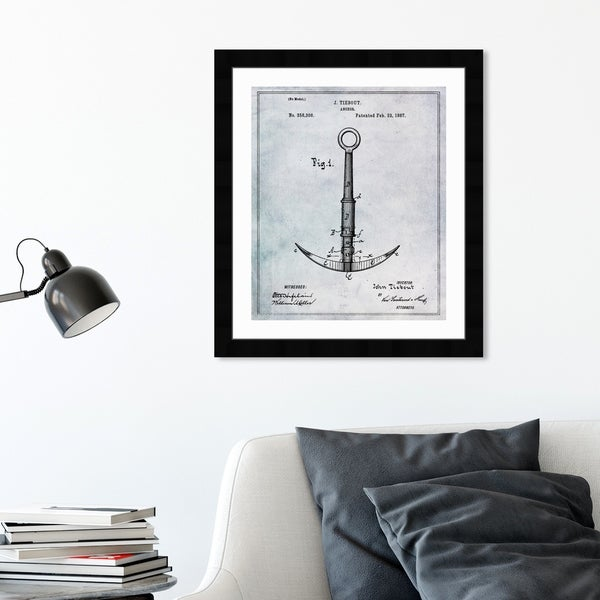 Oliver Gal 'Anchor 1887' Nautical and Coastal Framed Blueprint Wall Art - Black, Gray. Opens flyout.