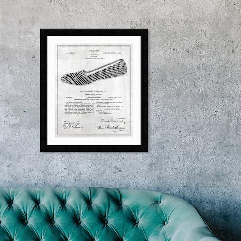 Oliver Gal 'Gentleman Loafer Slippers 1908' Framed Blueprint Wall Art