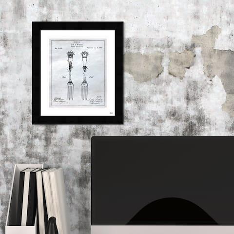Oliver Gal 'Design for Spoons and Forks 1881' Food and Cuisine Framed Blueprint Wall Art - Black, Gray