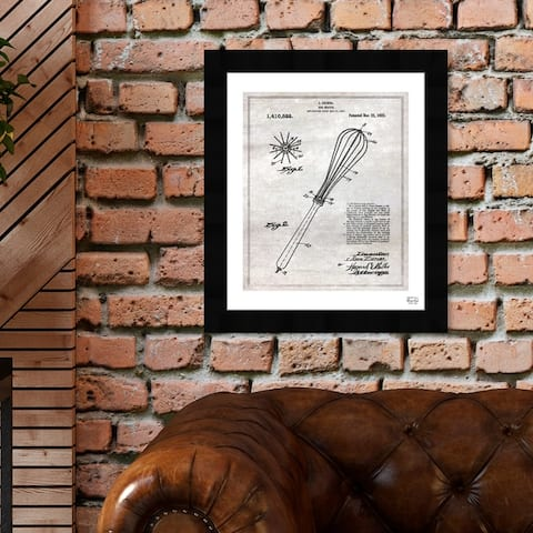 Oliver Gal 'Egg Beater 1921' Food and Cuisine Framed Blueprint Wall Art - Gray, Black