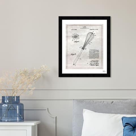 Oliver Gal 'Egg Beater 1921' Food and Cuisine Framed Blueprint Wall Art - Gray, Black