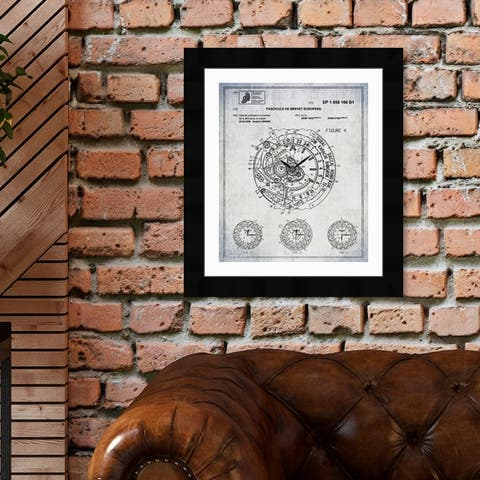 Oliver Gal 'World Time Watch 2009' Fashion and Glam Framed Blueprint Wall Art - Black, White