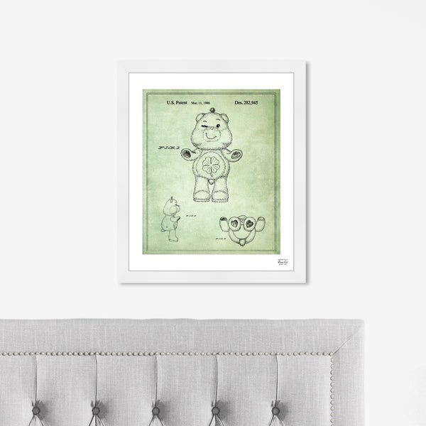 Oliver Gal 'Carebears - Good Luck 1986' Symbols and Objects Framed Blueprint Wall Art - Green, Black