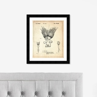 Oliver Gal 'Toy Troll Lure 1996' Symbols and Objects Framed Blueprint Wall Art - Brown, Black