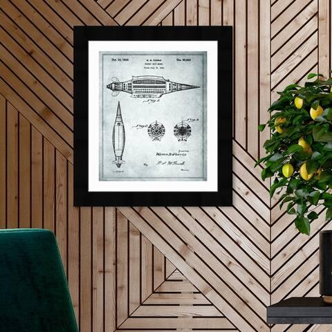 Oliver Gal 'DESIGN FOR A ROCKET SHIP MODEL 1933' Transportation Framed Blueprint Wall Art - Black, White
