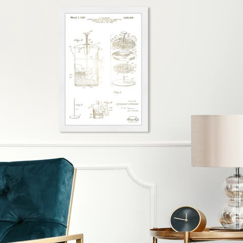 Oliver Gal 'Coffee Brewing Apparatus 1967' Drinks and Spirits Framed Blueprint Wall Art - Gold, White