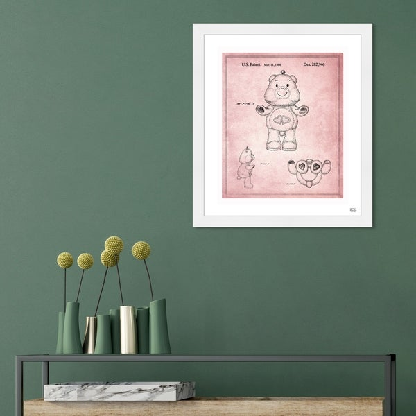 Oliver Gal 'Carebears - Love a Lot 1986' Entertainment and Hobbies Framed Blueprint Wall Art - Pink, Black