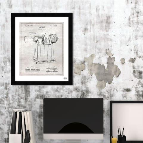 Oliver Gal 'Design for a Food Chopper 1938' Food and Cuisine Framed Blueprint Wall Art - White, Black