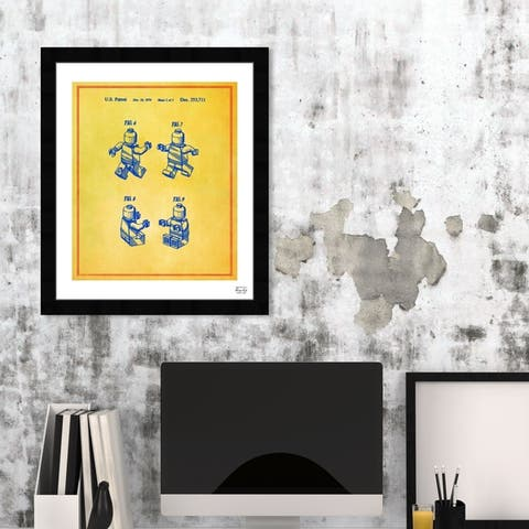 Oliver Gal 'Lego Toy Figure #2 1979 - Colorful' Symbols and Objects Framed Blueprint Wall Art - Yellow, Blue